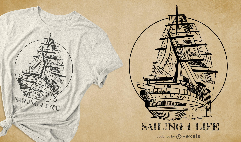 Desenho de t-shirt de veleiro desenhado à mão