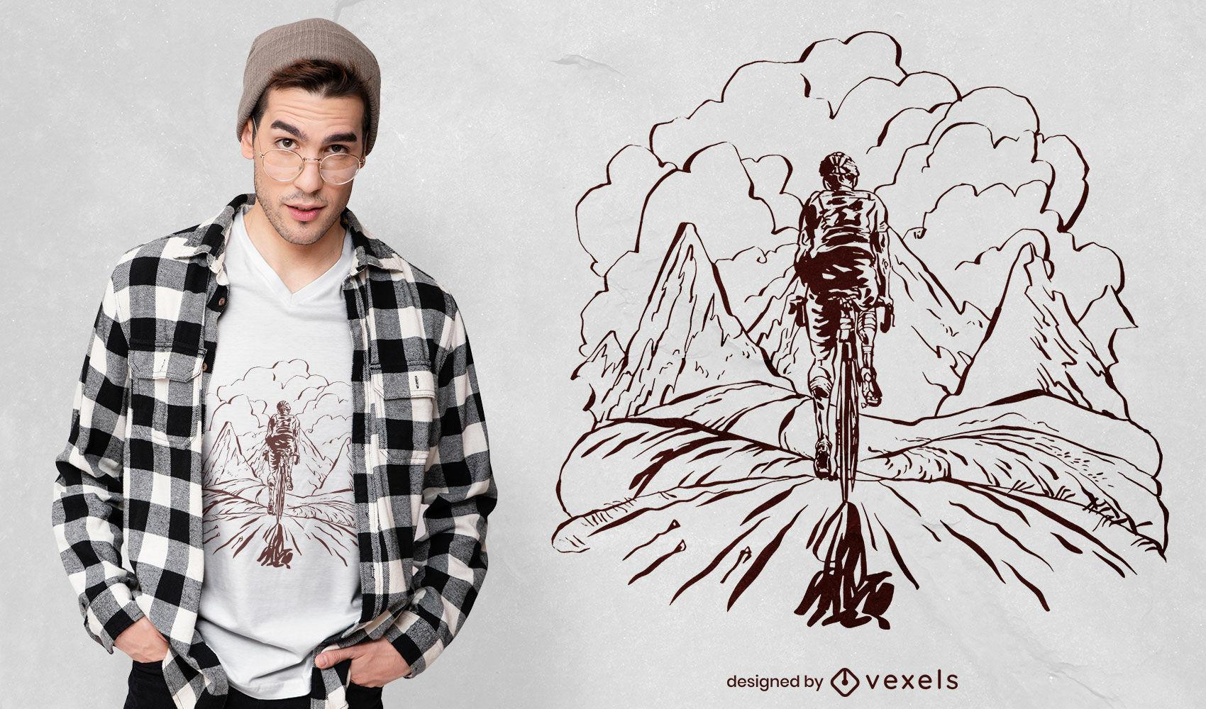 Diseño de camiseta dibujada a mano en bicicleta de montaña.