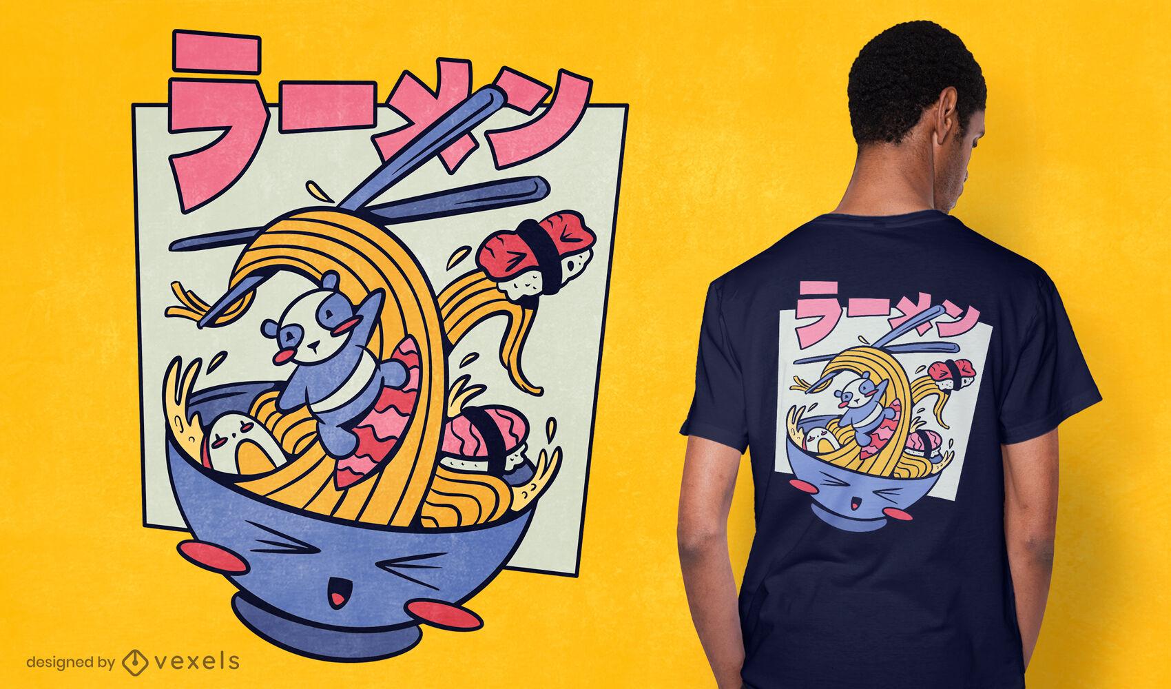 Panda surfeando en dise?o de camiseta ramen
