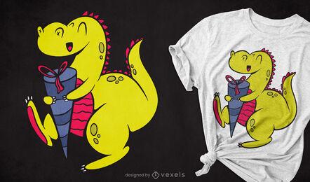 Dinosaur with schultute t-shirt design