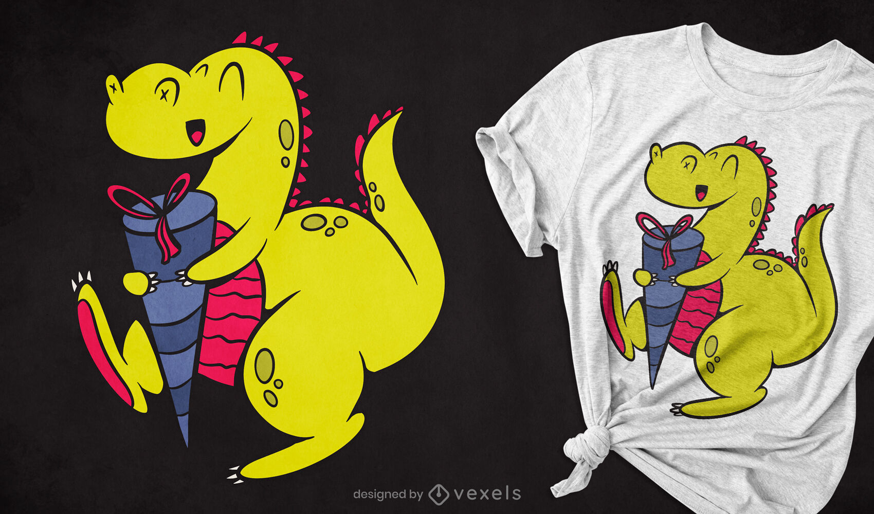 Dinosaurier mit Schultute-T-Shirt-Design
