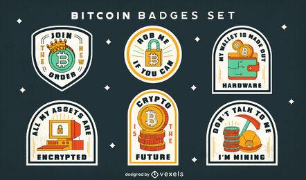 Bitcoin conjunto de insignias de trazo de color