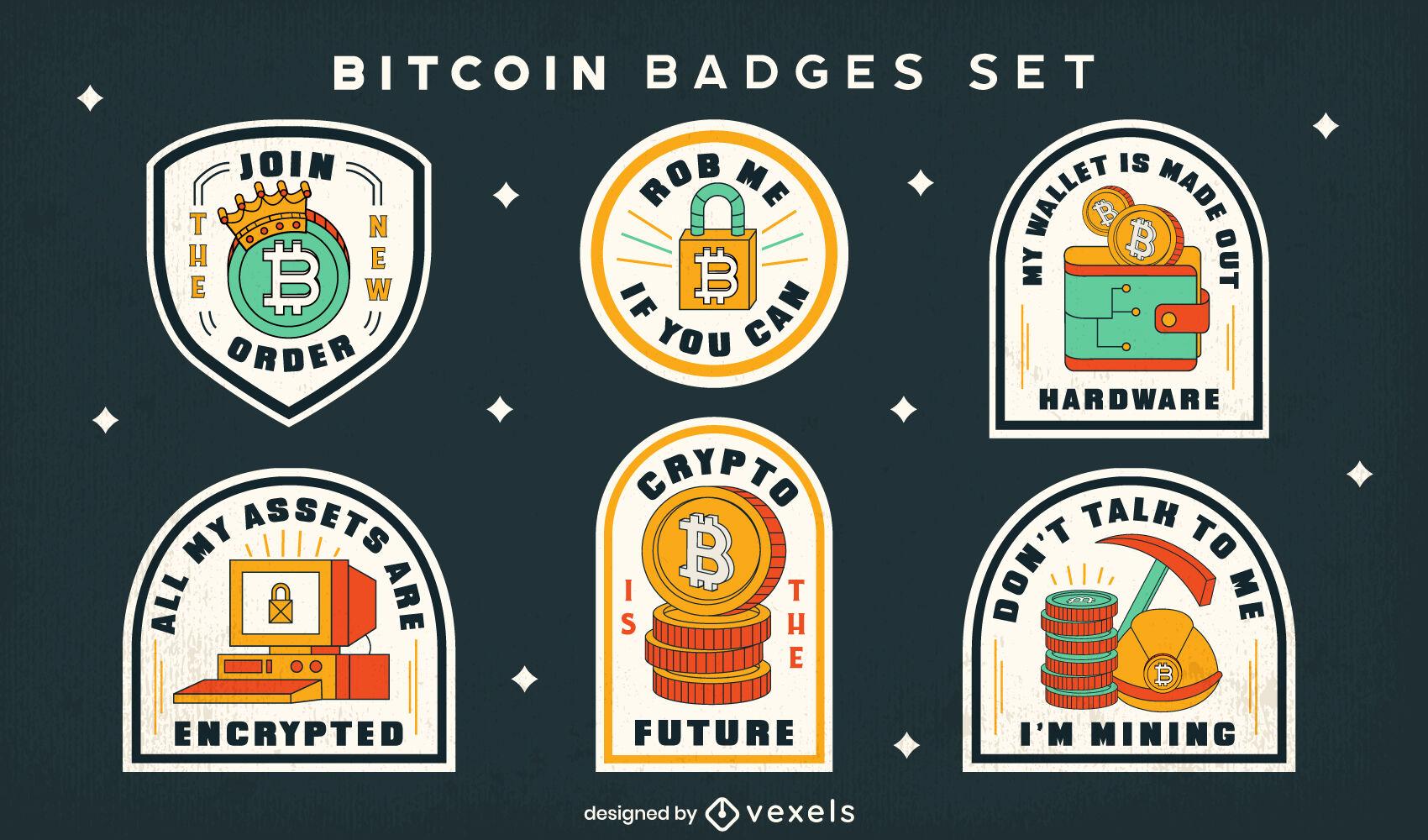Conjunto de emblemas de traço colorido Bitcoin