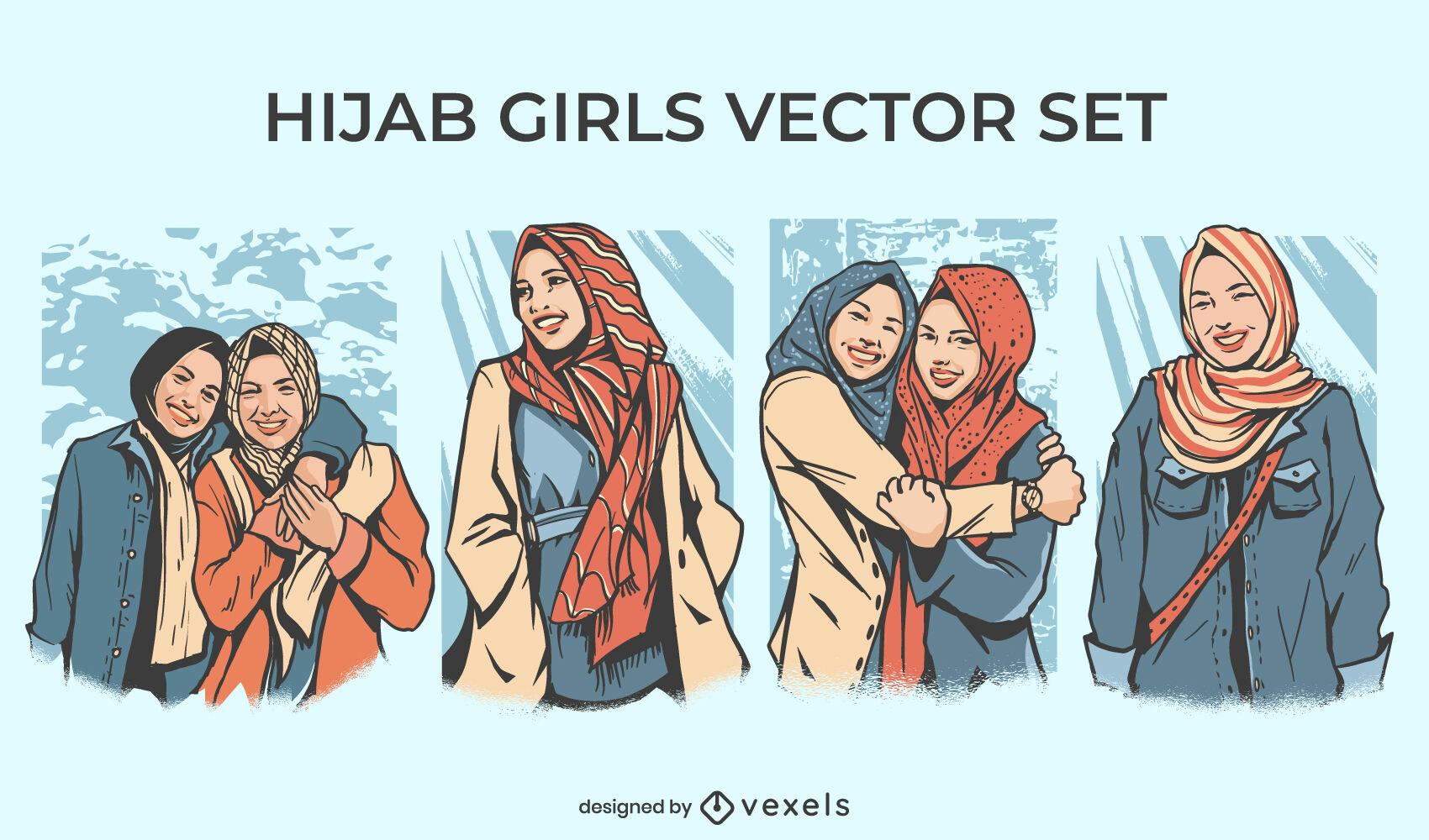 Set of hijab girls illustration