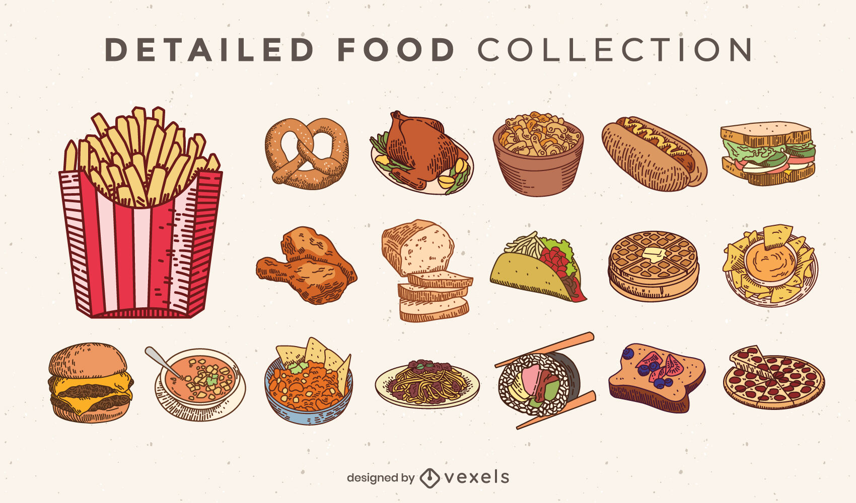 Junk food delicious meals collection set