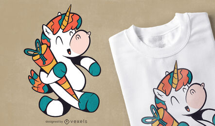 Unicorn with schultute cartoon t-shirt design