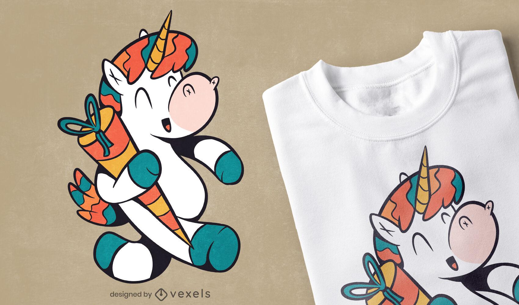 Einhorn mit Schultute-Cartoon-T-Shirt-Design