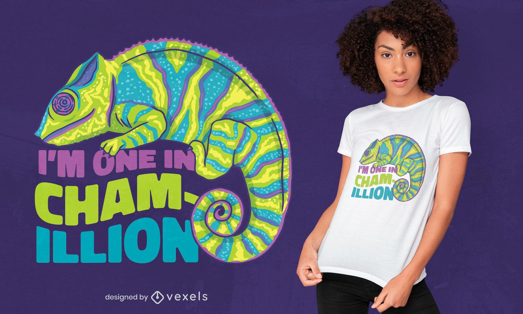 Diseño divertido de la camiseta del juego de palabras del animal del camaleón