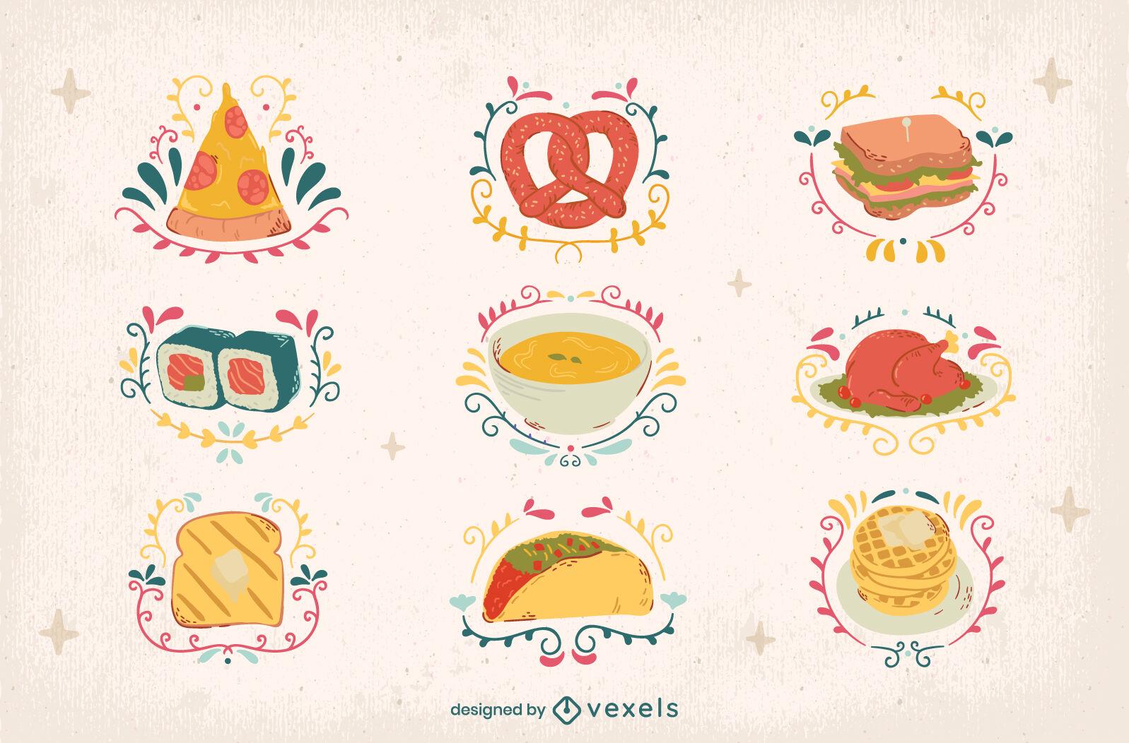 Ilustrações ornamentadas de alimentos e elementos de refeição
