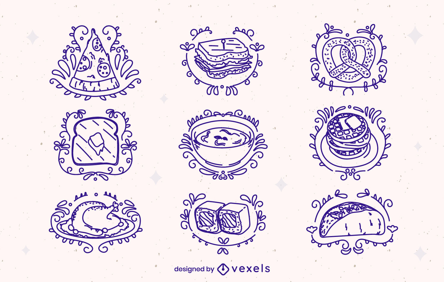 Ornamented food and meal elements stroke