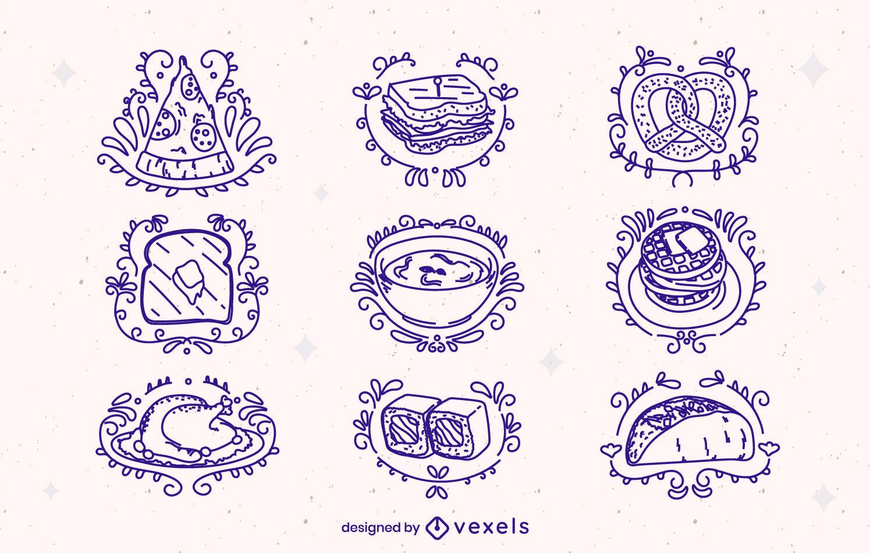 Traço ornamentado de alimentos e elementos de refeição