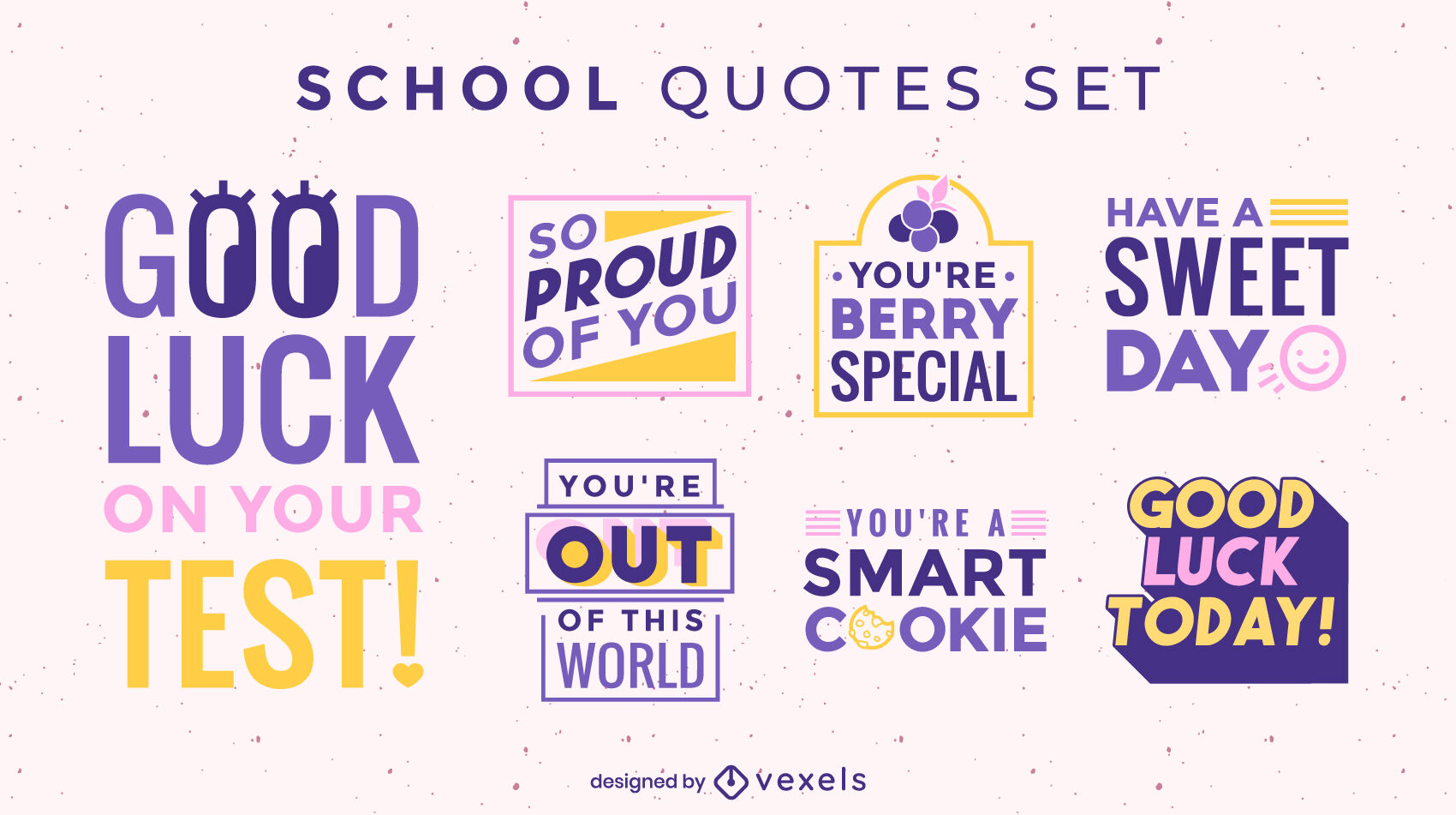 School flat motivational quote badges