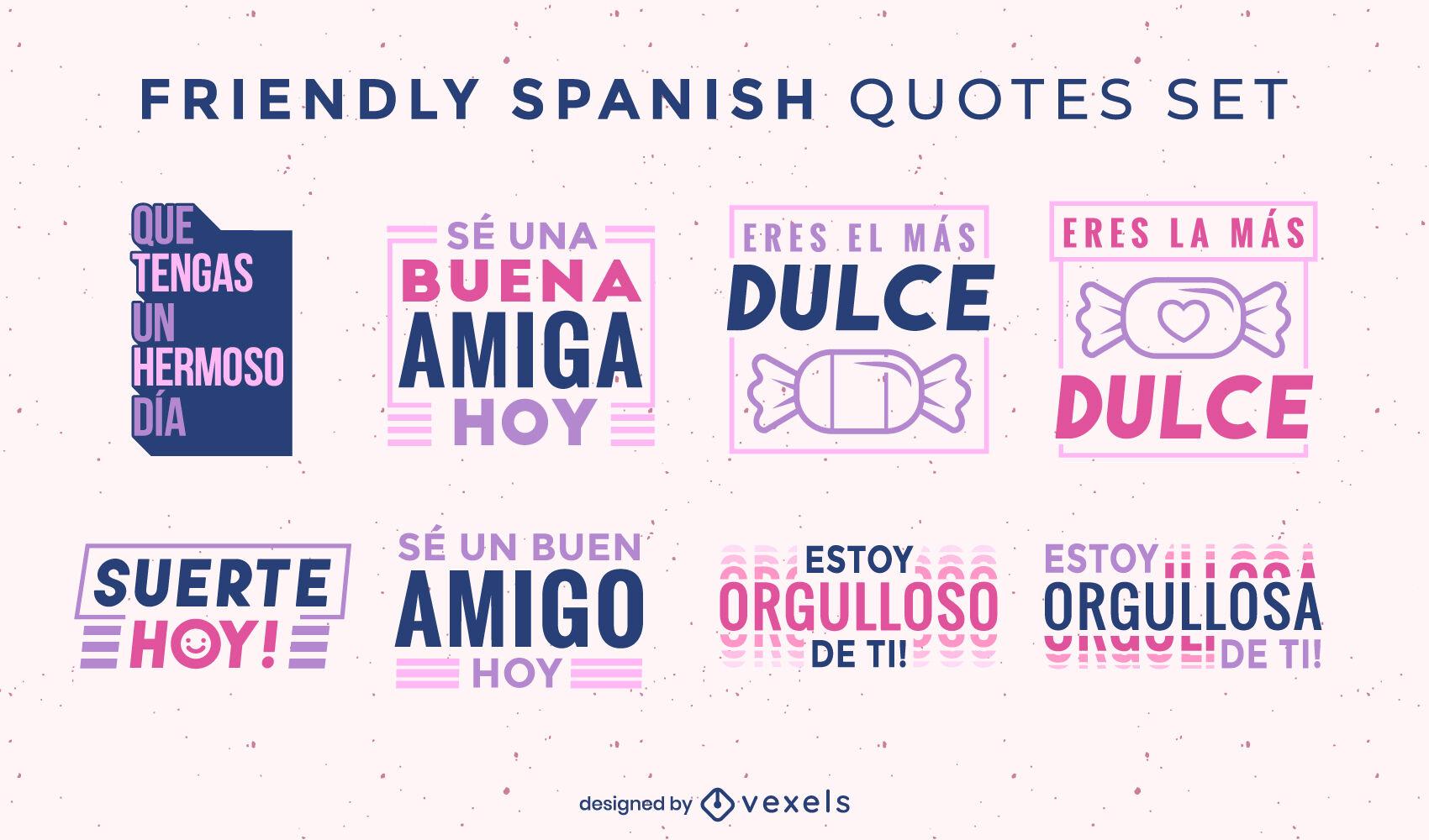 Conjunto de crachá amigável com citações espanholas felizes