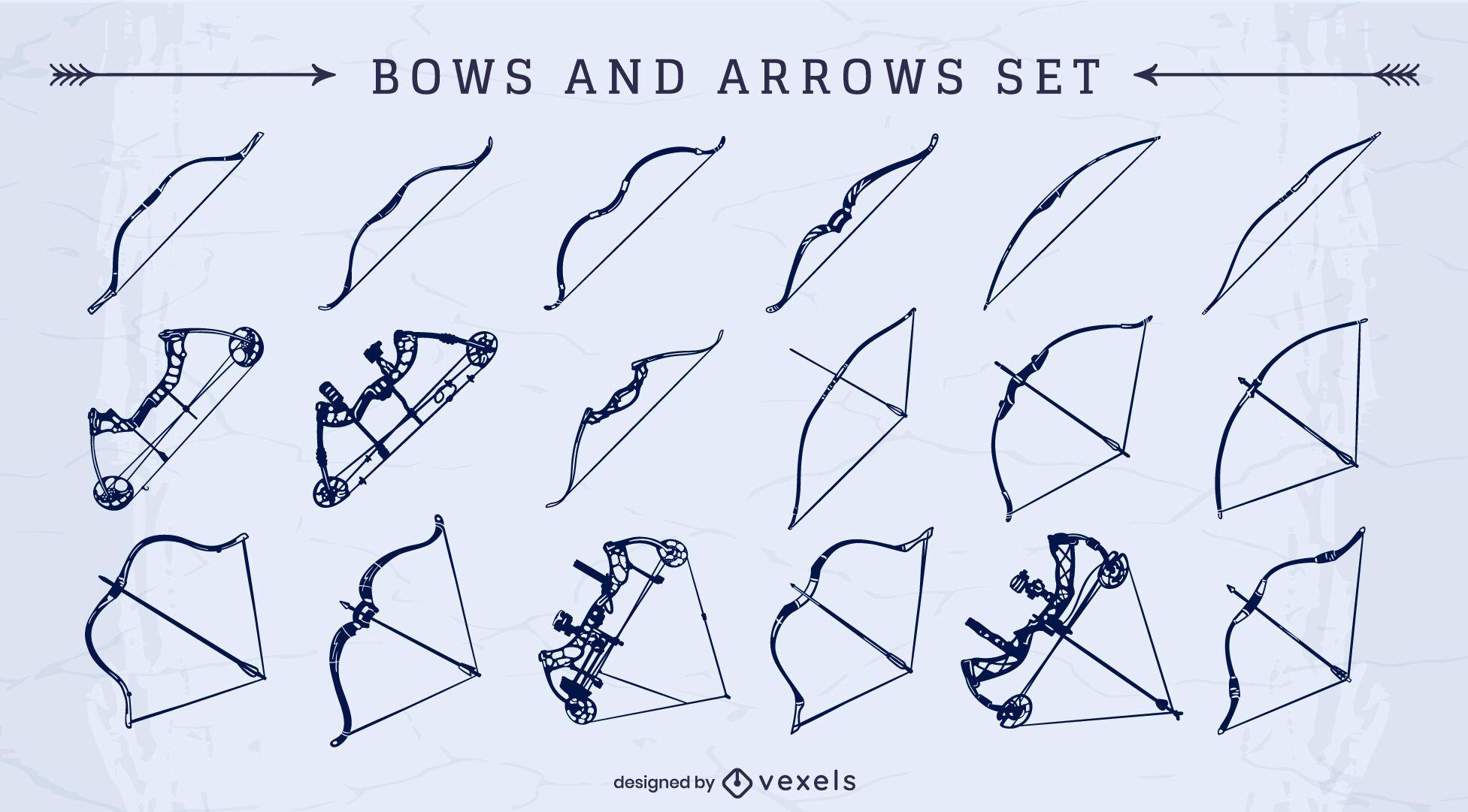 Arcos y flechas recortadas conjunto