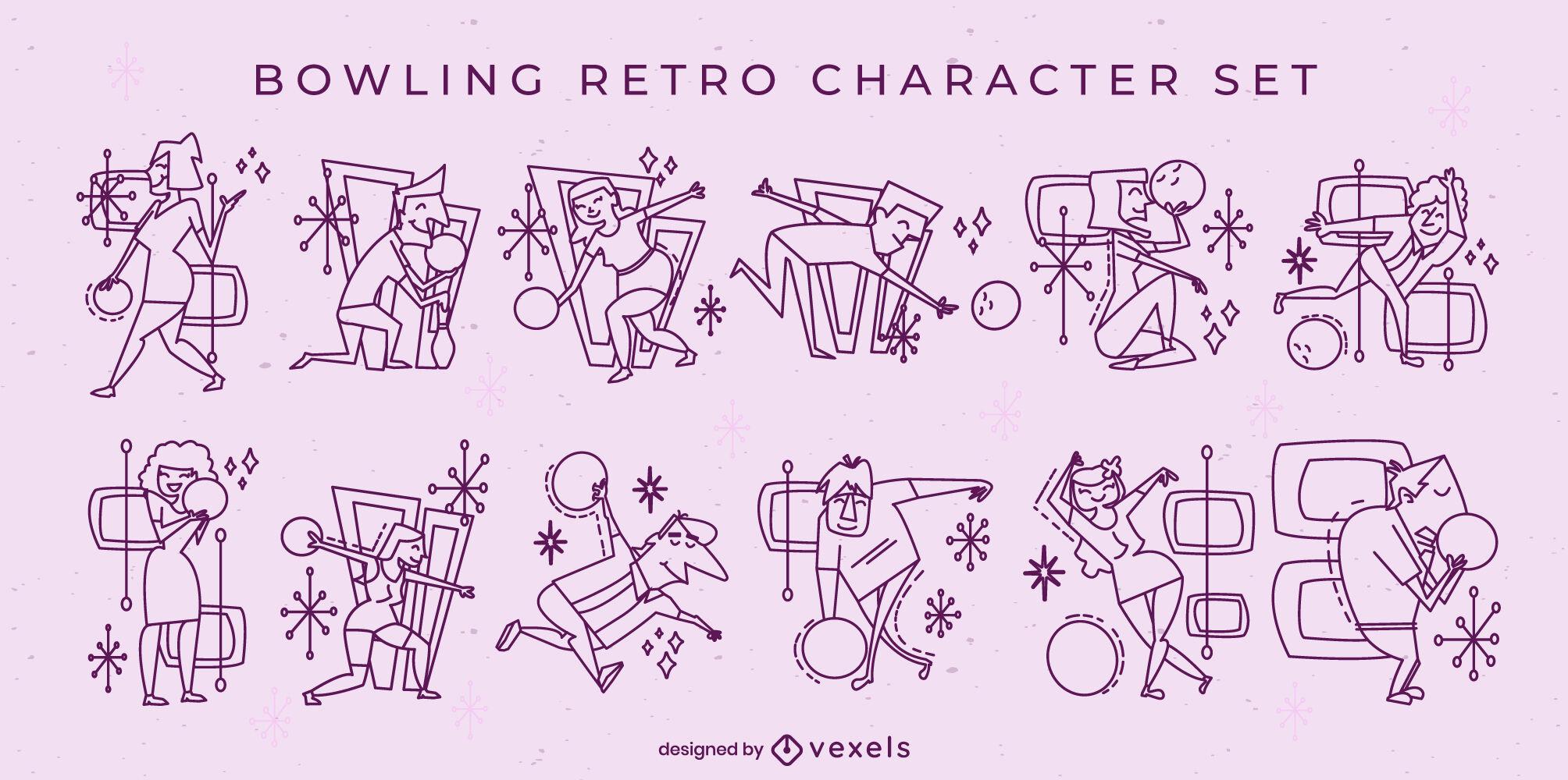 Bowling characters retro cartoon set