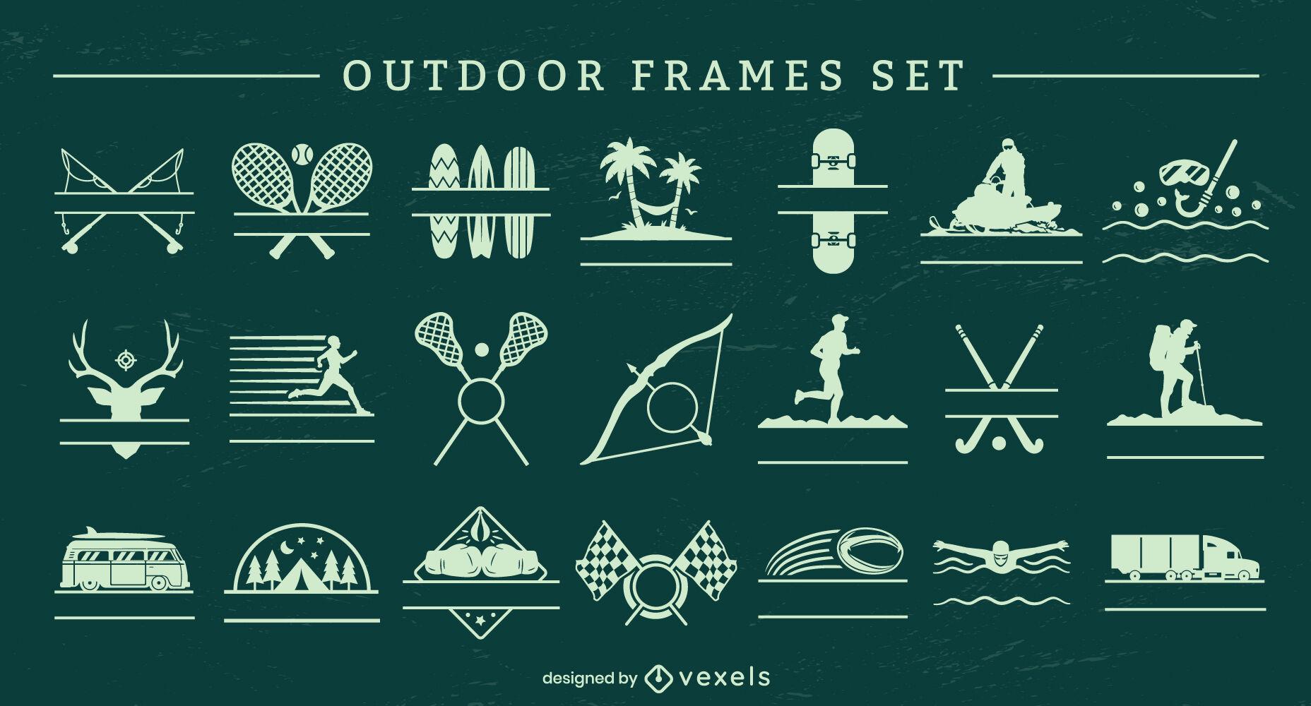 Conjunto de insignias editables de actividades al aire libre.