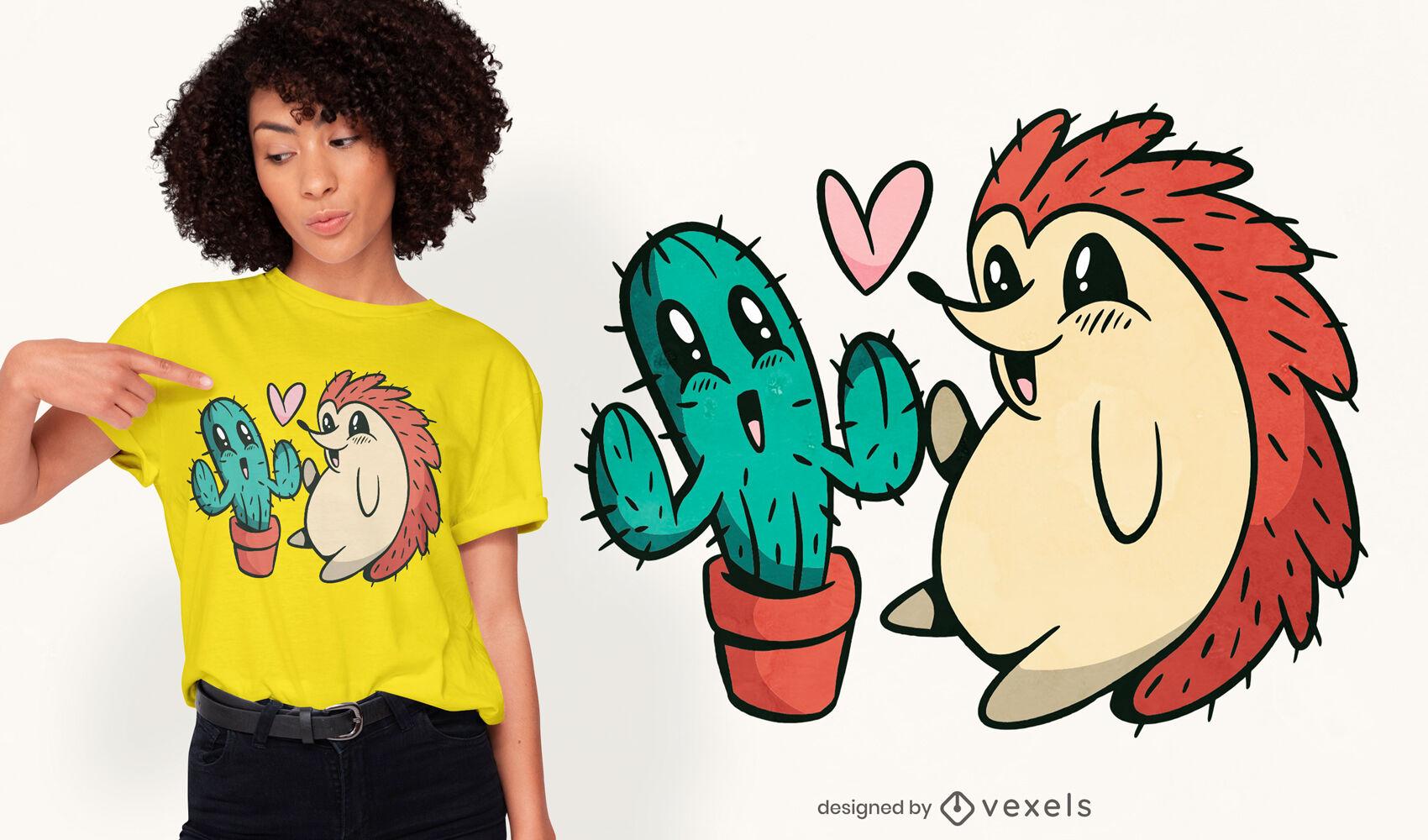 Cute cactus and hedgehog t-shirt design