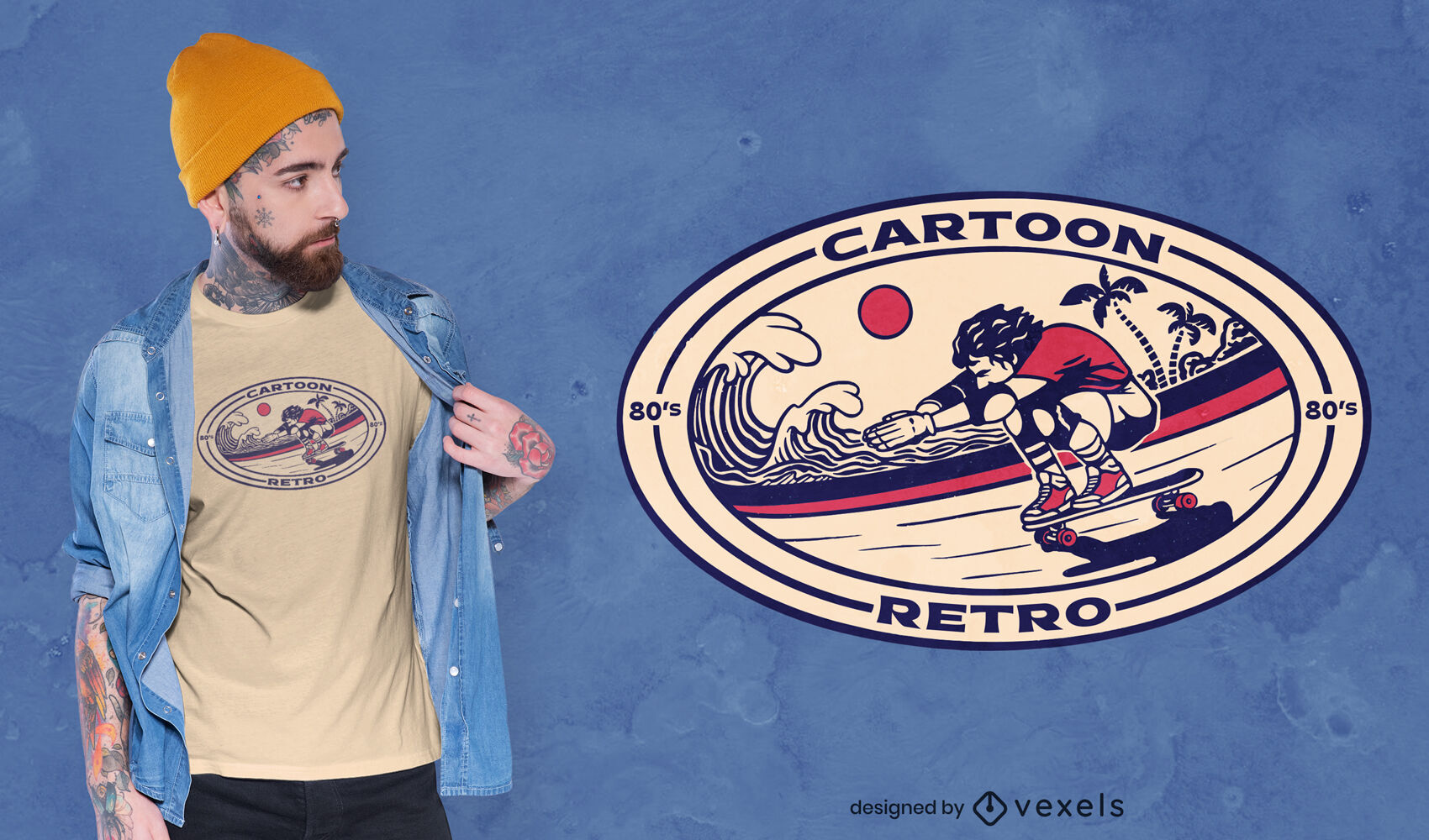 Design de distintivo de camiseta de skate vintage