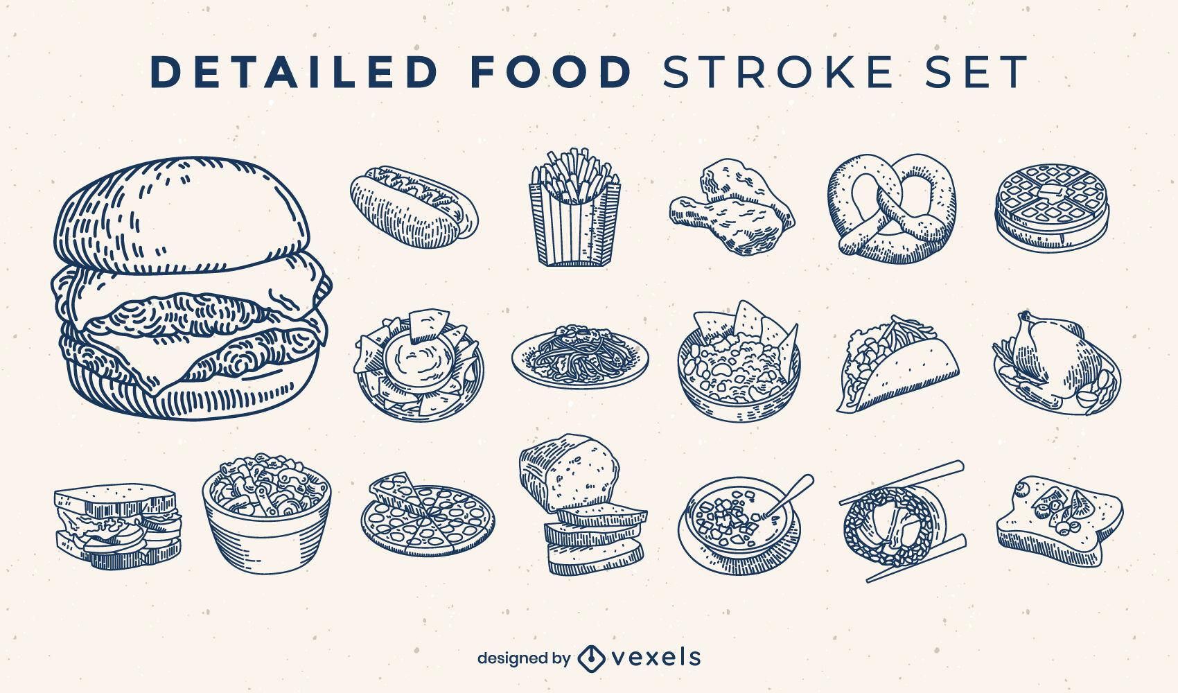 Conjunto de elementos dibujados a mano de comida rápida