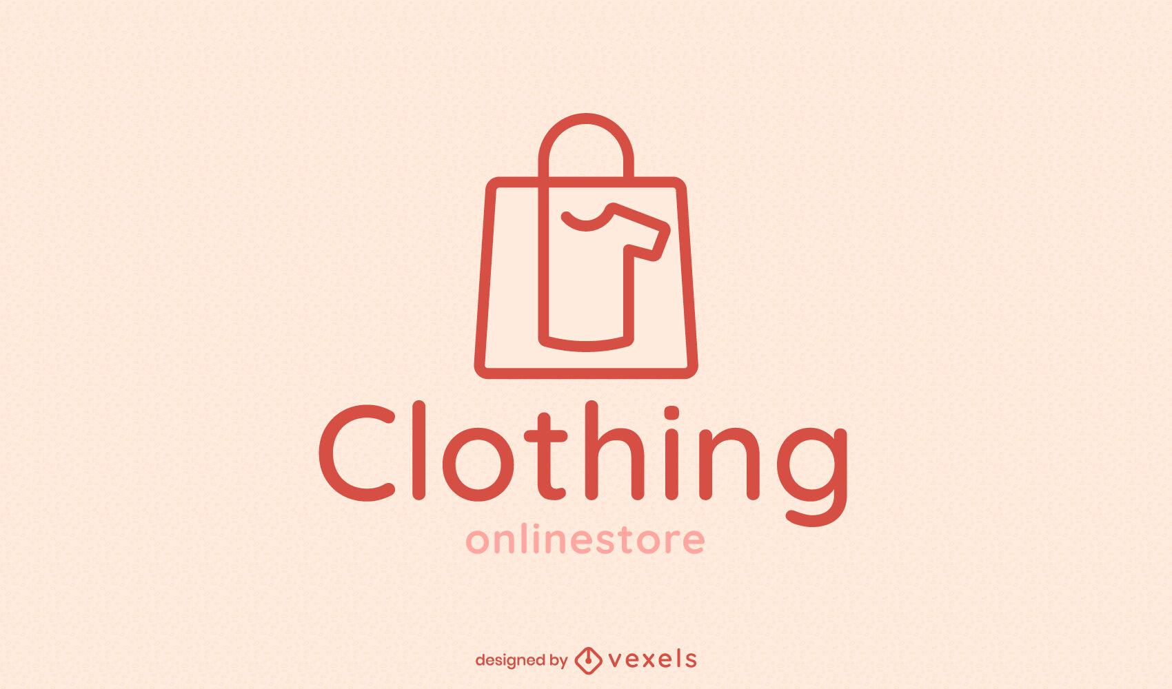 Logotipo de bolsa de compras de ropa