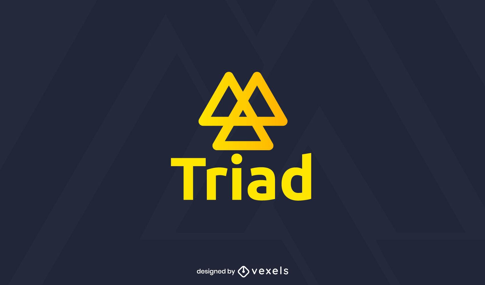 Logotipo de trazo de triángulos de tríada