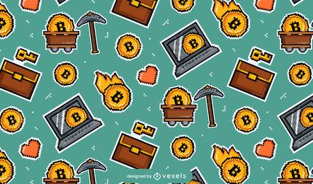 Bitcoin elements pixel art pattern