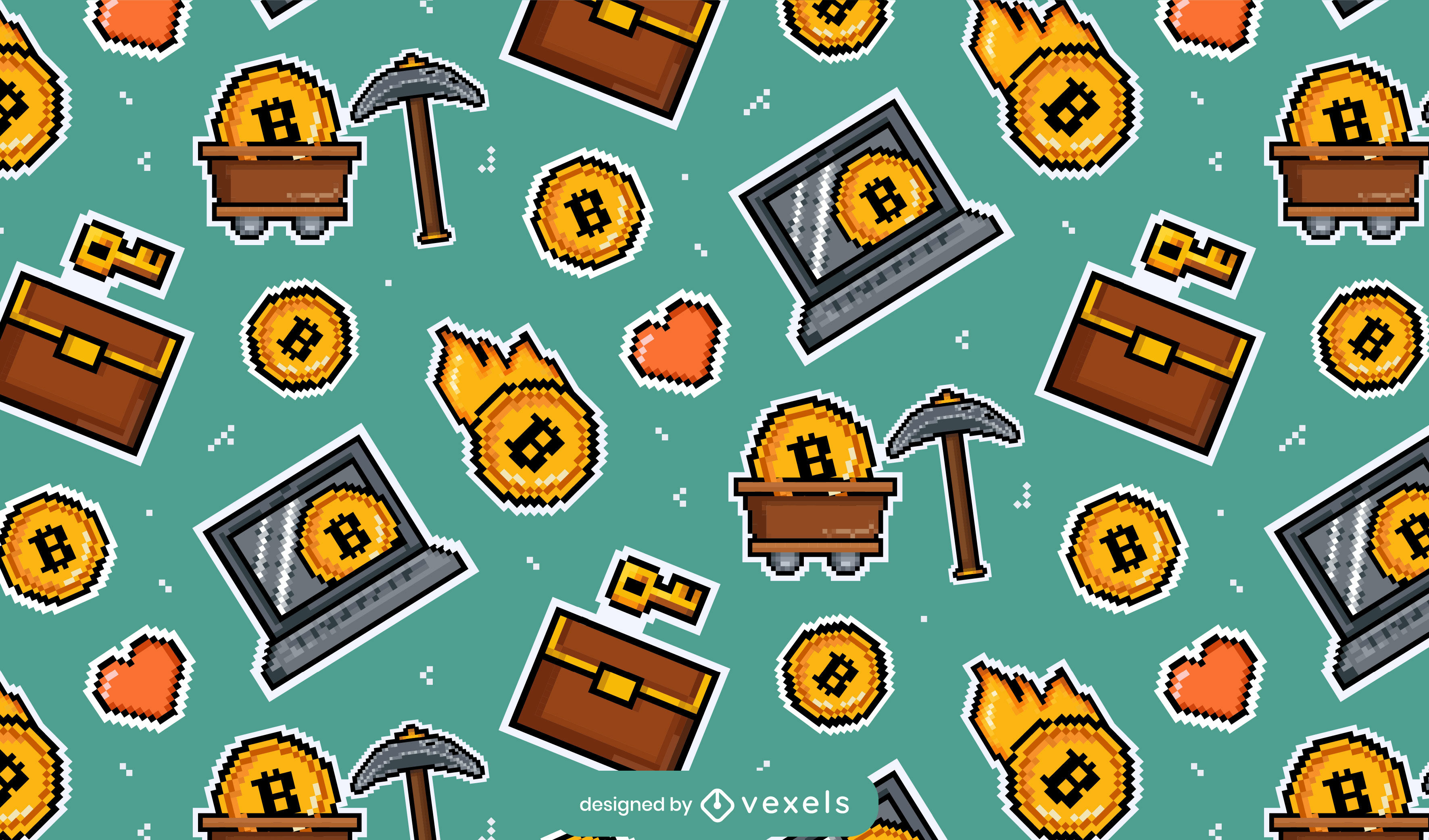 Patr?n de pixel art de elementos de Bitcoin