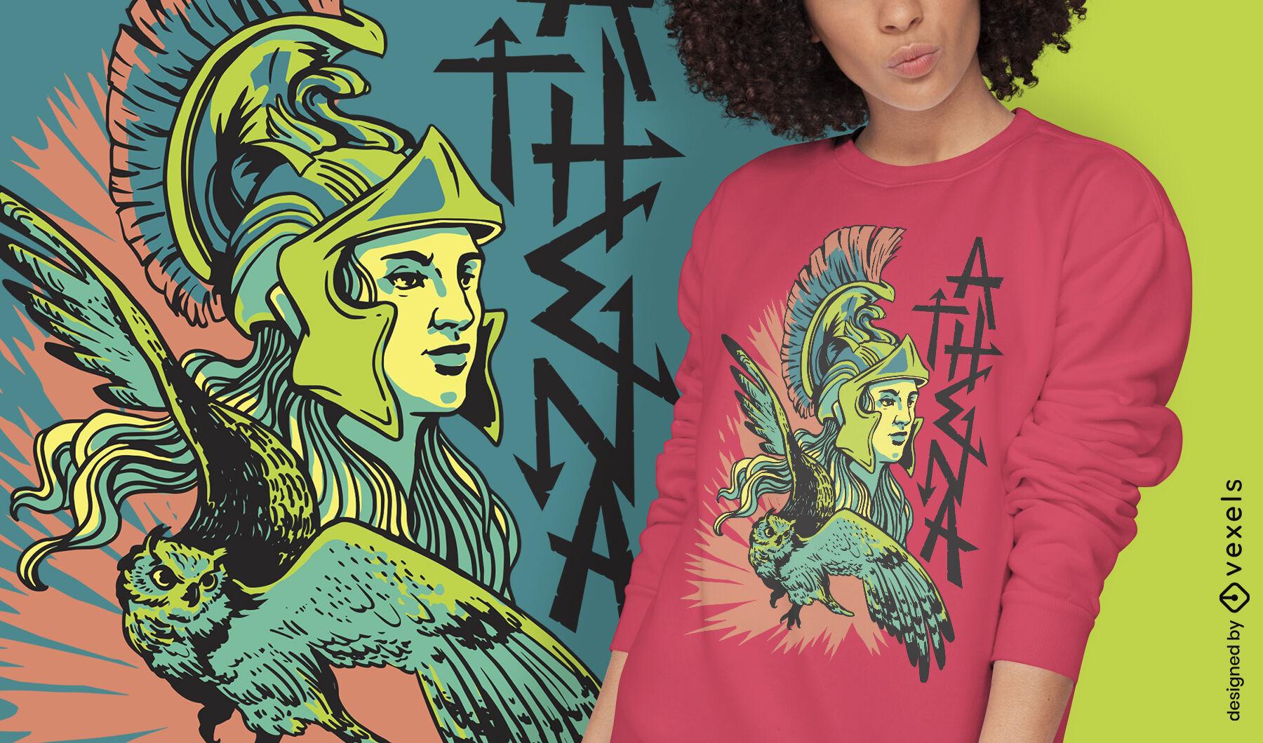 Diseño de camiseta de Grecia mítica de la diosa Atenea.