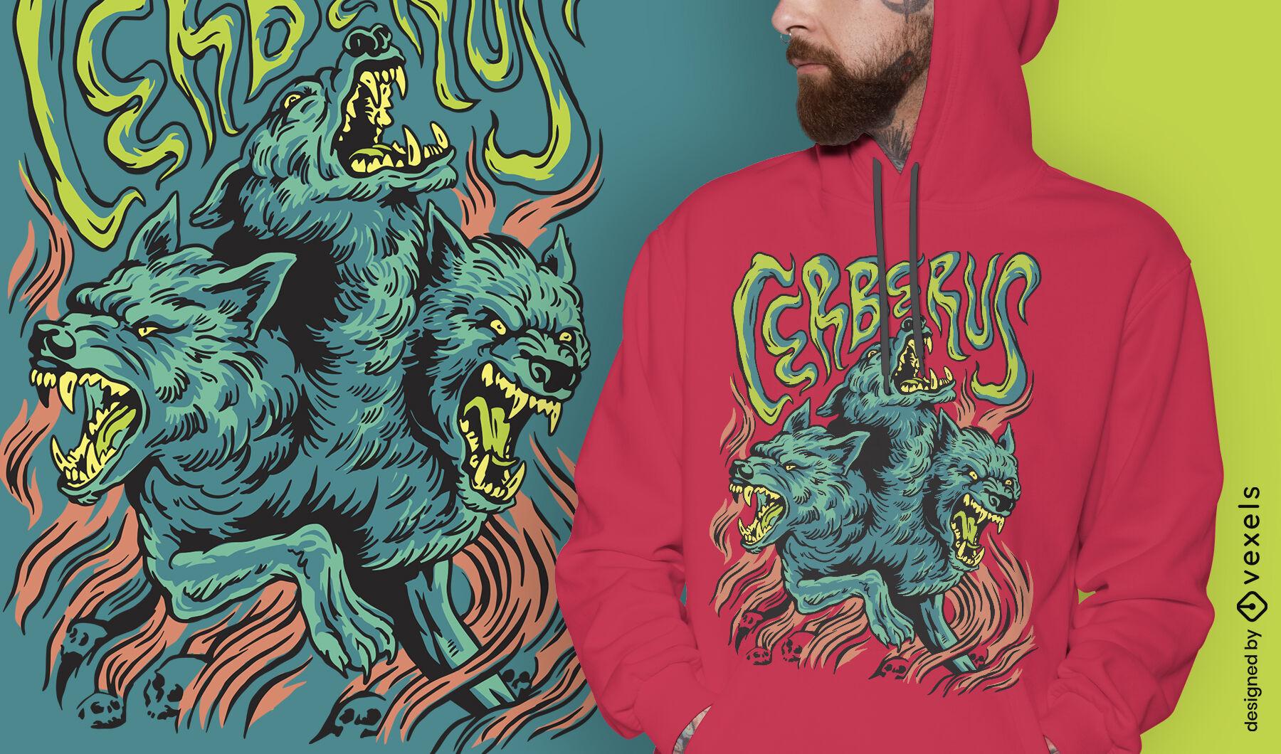 Diseño de camiseta de grecia mítica del monstruo de Cerberus
