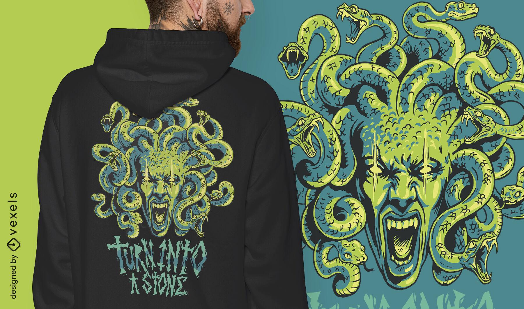 Design de camiseta mítica da Grécia com o monstro Medusa