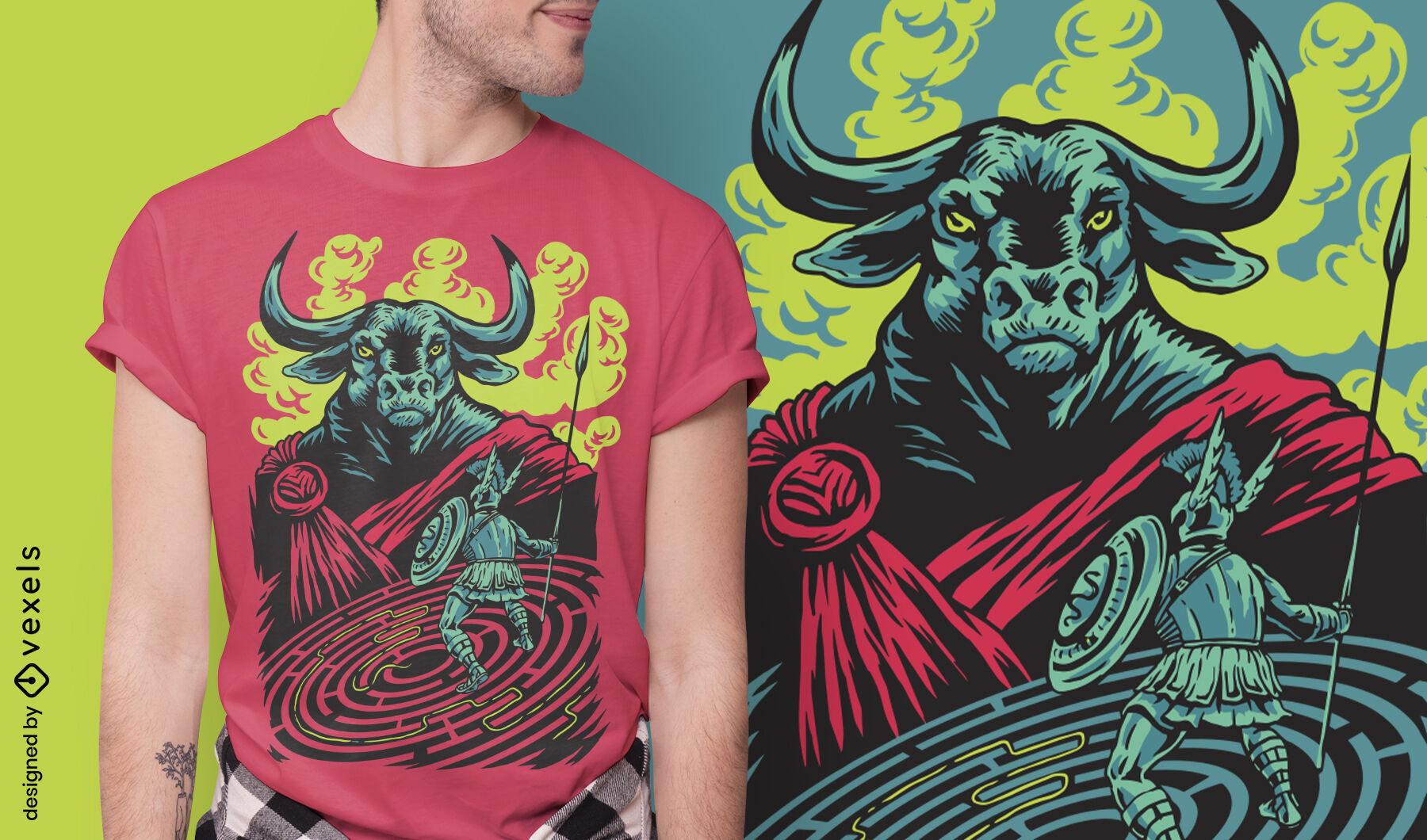 Diseño de camiseta de minotauro monstruo mítico grecia
