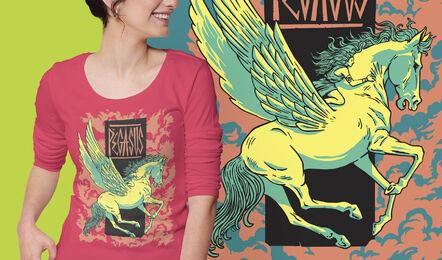 Diseño de camiseta de pegasus mítico grecia