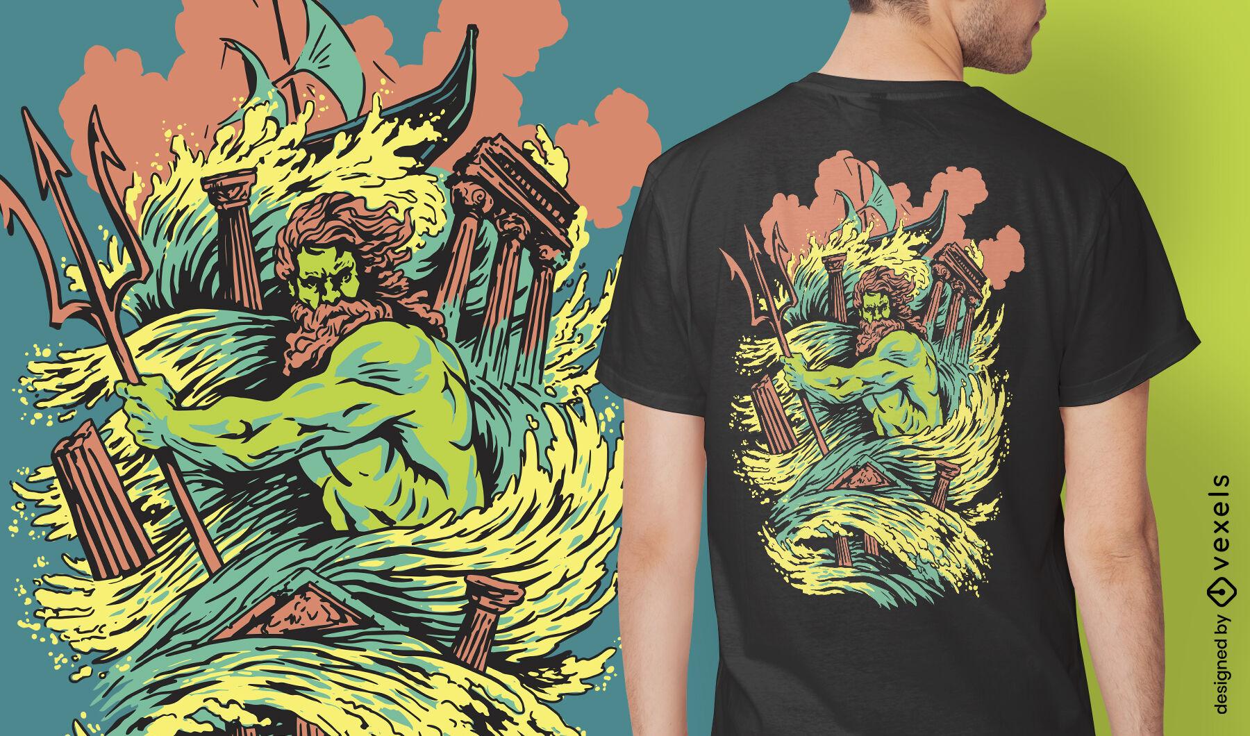 Poseidon god mythical greece t-shirt design