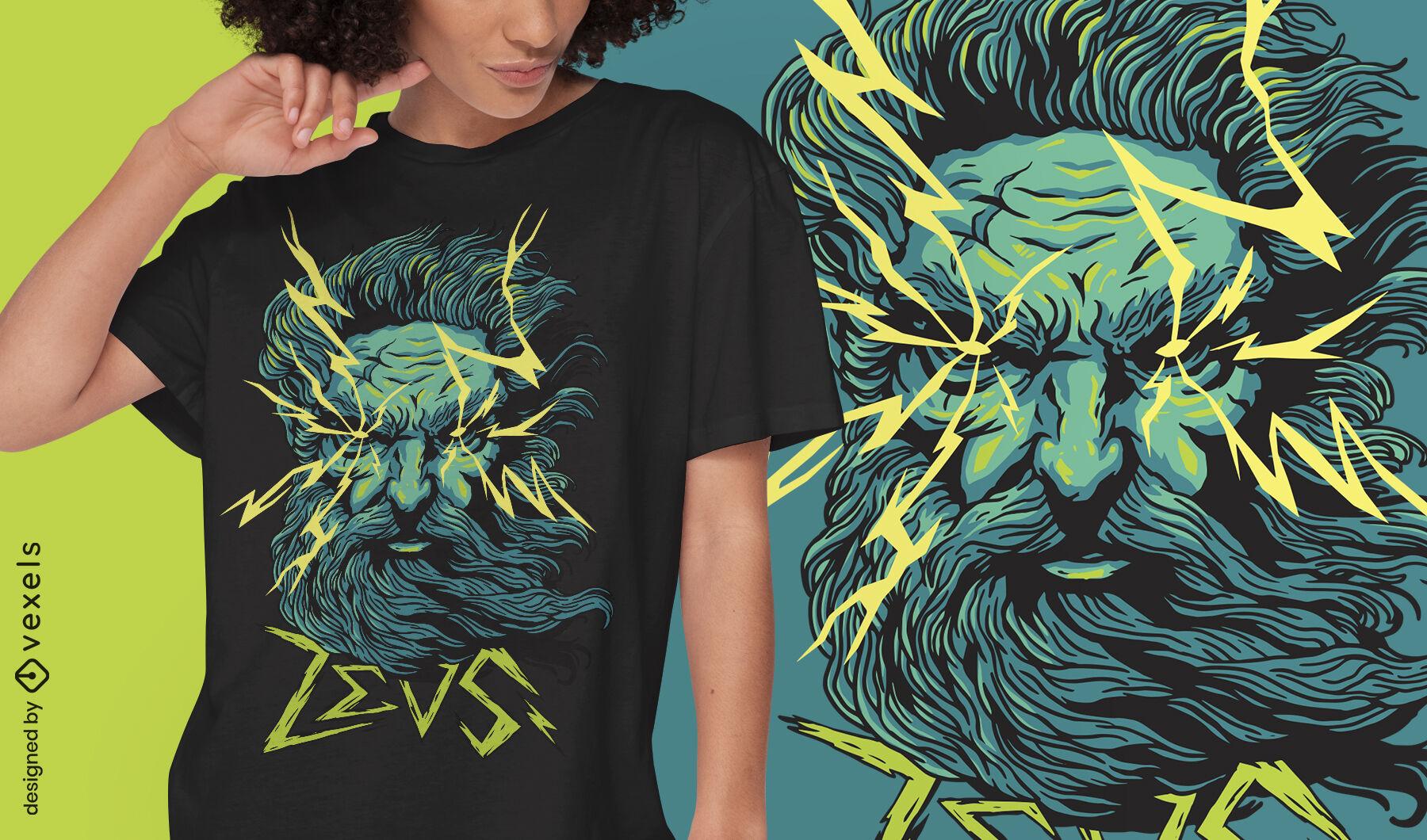 Diseño de camiseta de zeus dios mítico grecia