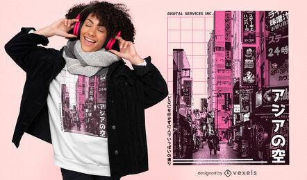 Design de camisetas fotográficas da cidade japonesa