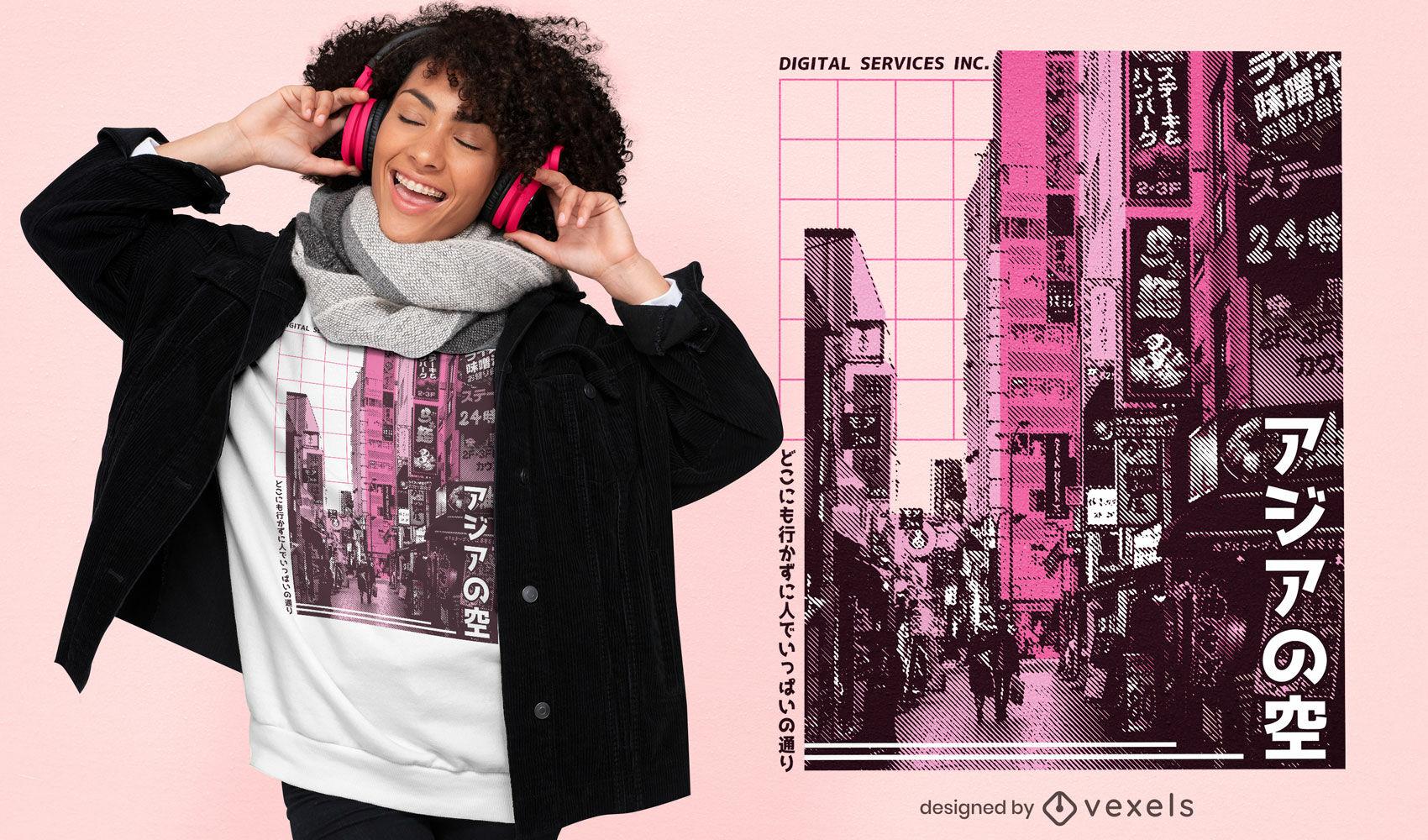 Diseño de camiseta fotográfica de ciudad japonesa.