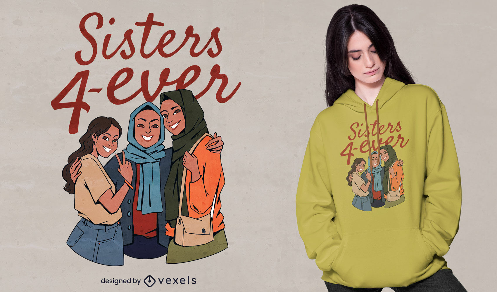 Hijab sisters 4 ever t-shirt design