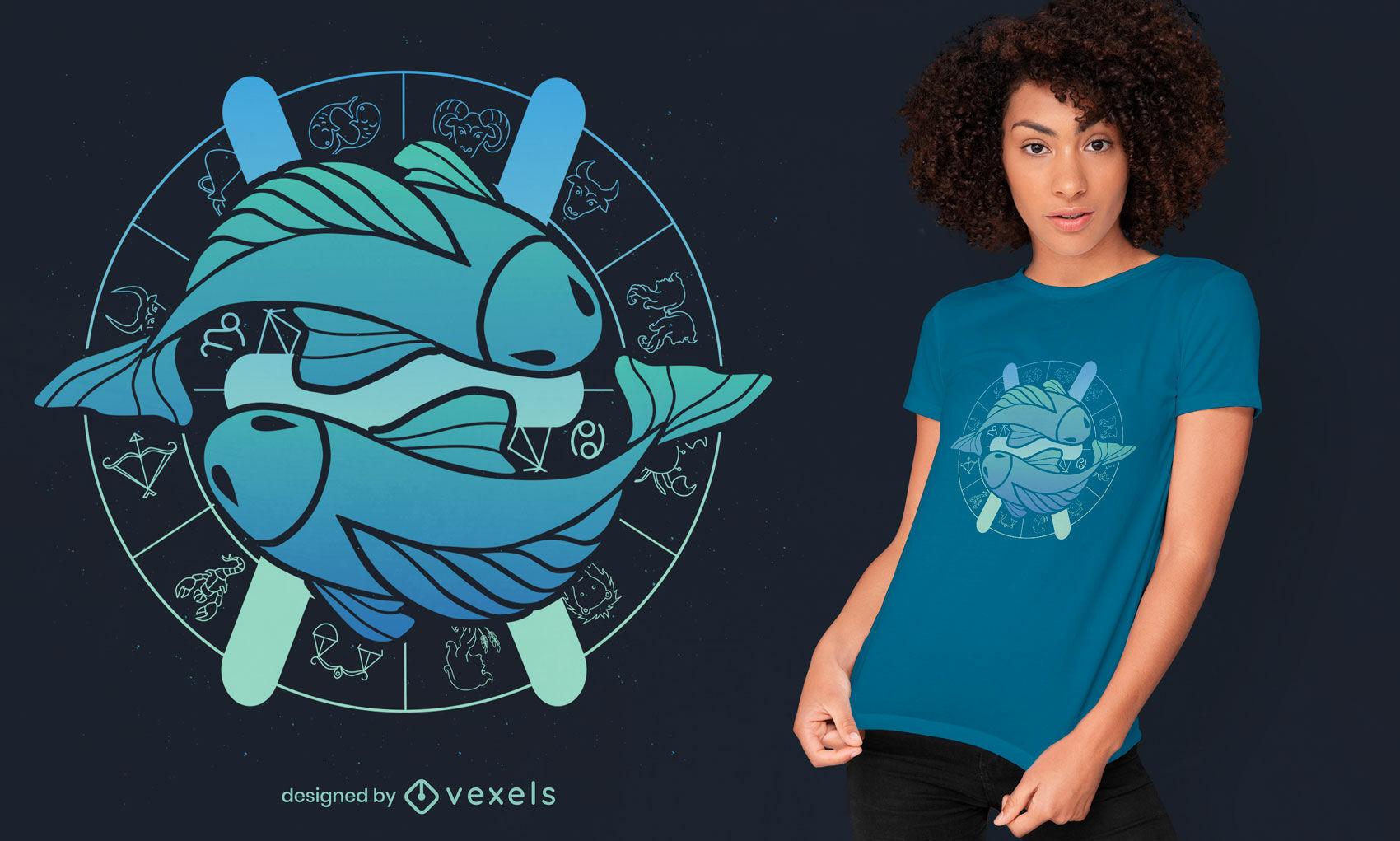 Diseño de camiseta de signo del zodiaco Piscis