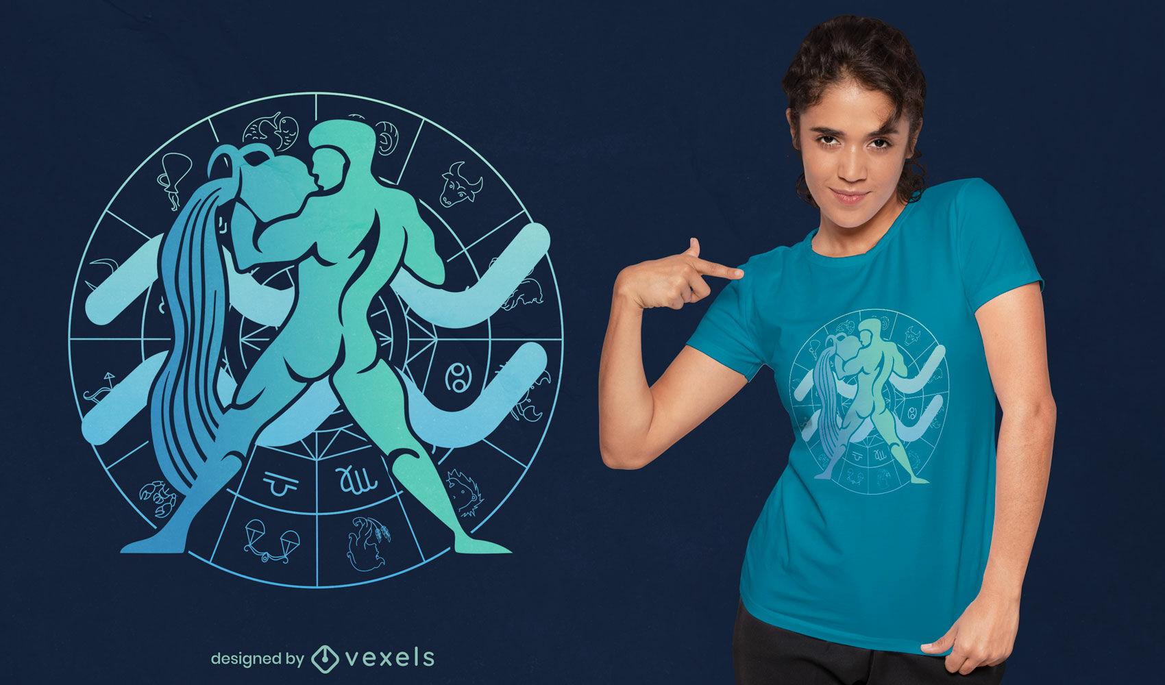 Design de camiseta do signo do zodíaco Aquário