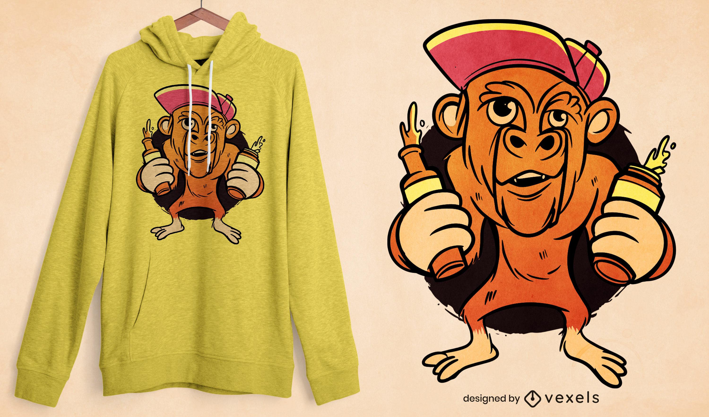Diseño de camiseta de dibujos animados de cerveza de mono