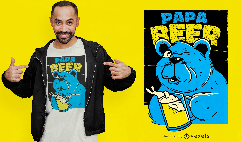 Bear dad drinking beer t-shirt design