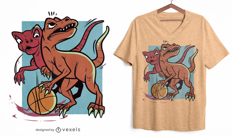 Diseño de camiseta de dinosaurios jugando baloncesto.