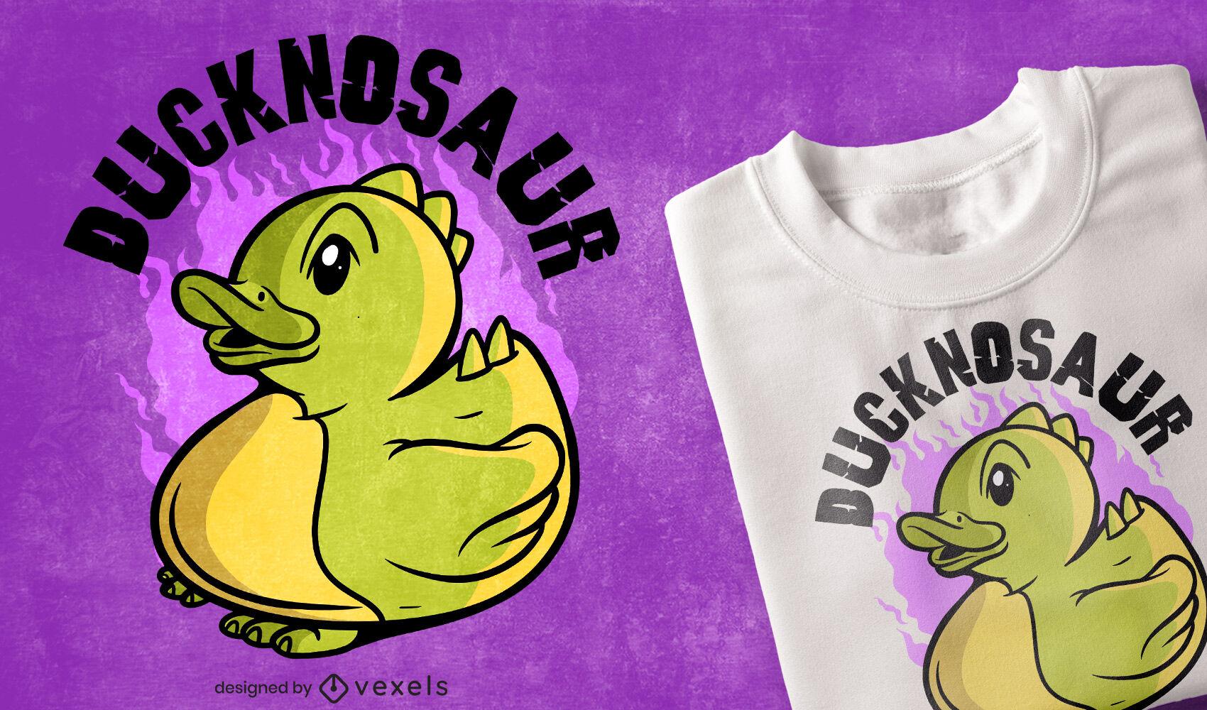 Diseño de camiseta de pato dinosaurio.