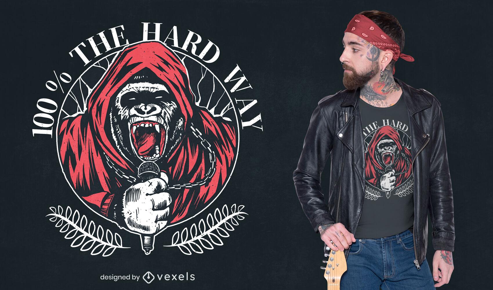 Design de t-shirt de gorila de música hardcore