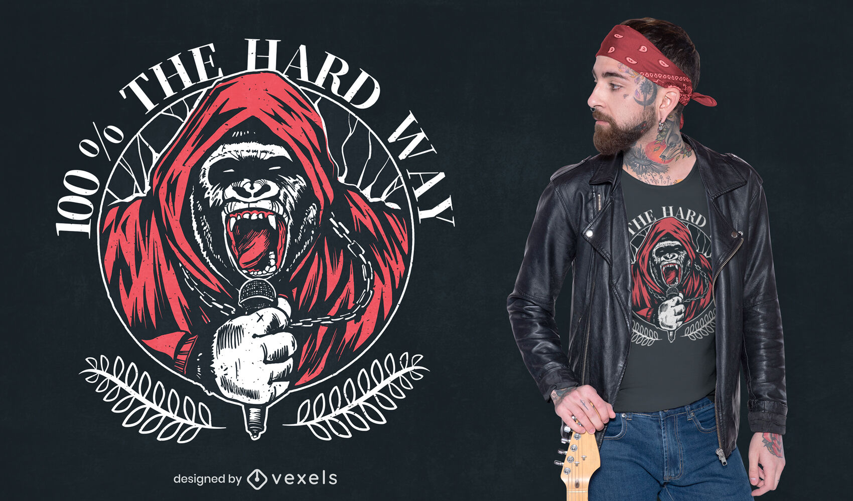 Hardcore-Musik-Gorilla-T-Shirt-Design