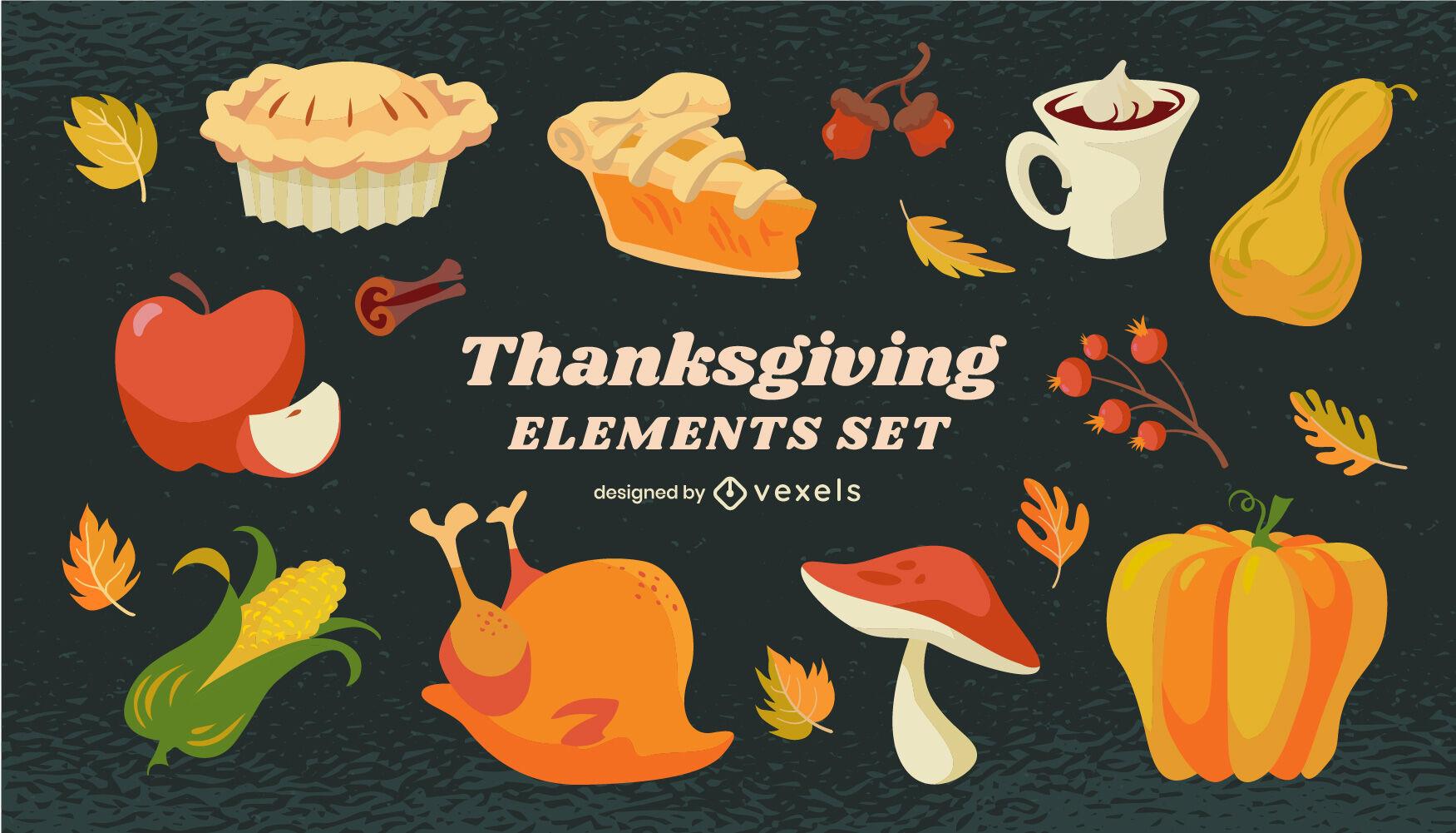 Conjunto de elementos de dibujos animados de comida de acción de gracias