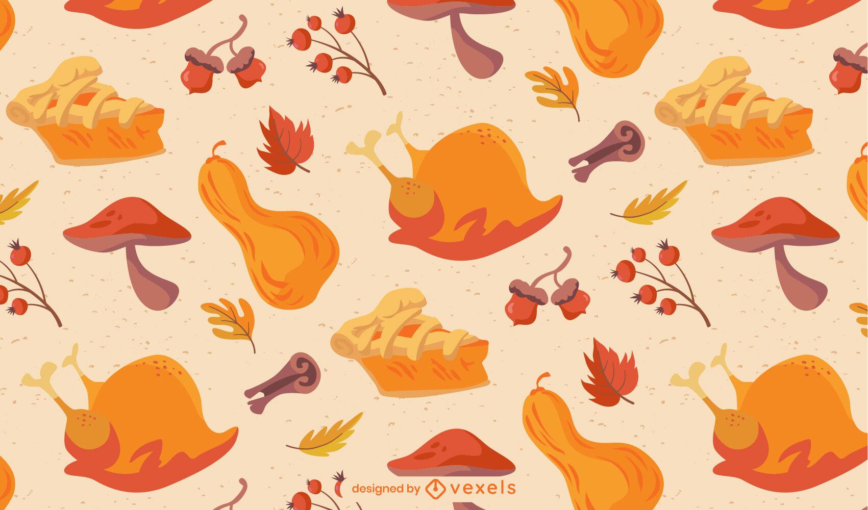 Diseño de patrón de vacaciones de comida de acción de gracias
