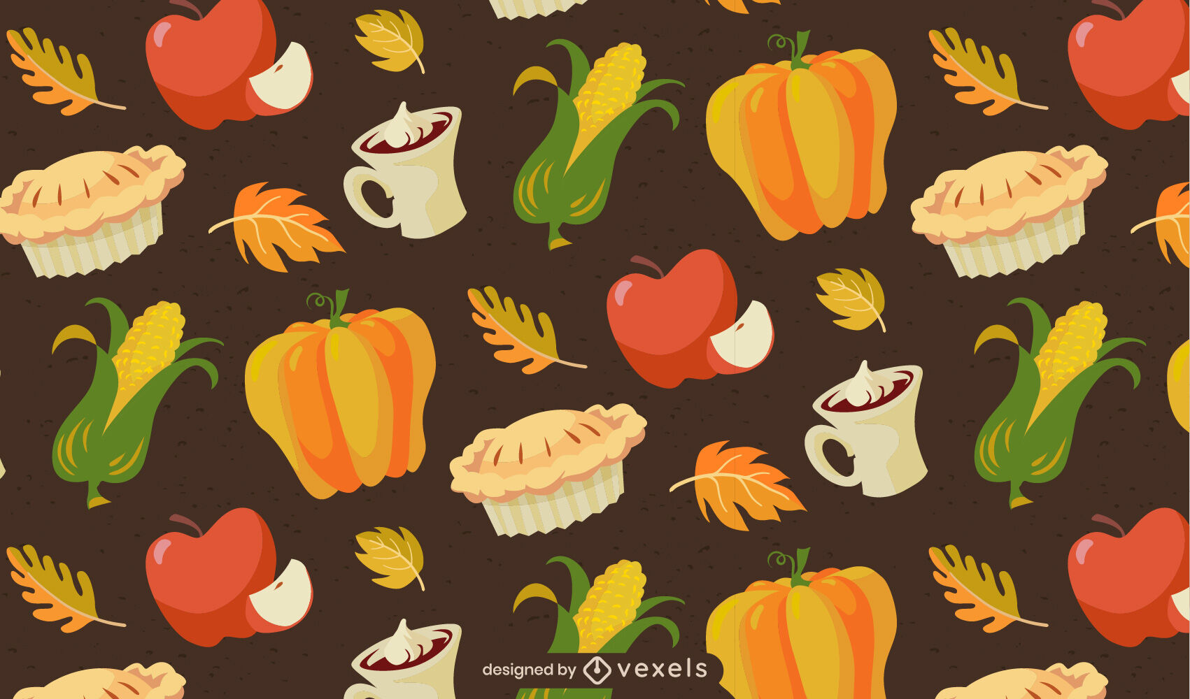 Thanksgiving food pattern cartoon