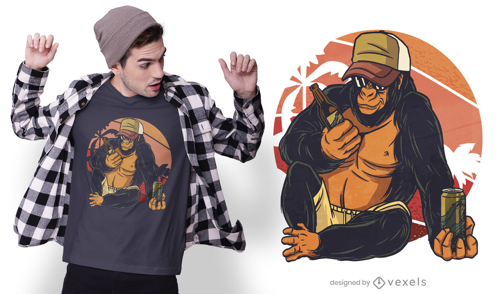 Gorilla drinking beer t-shirt design