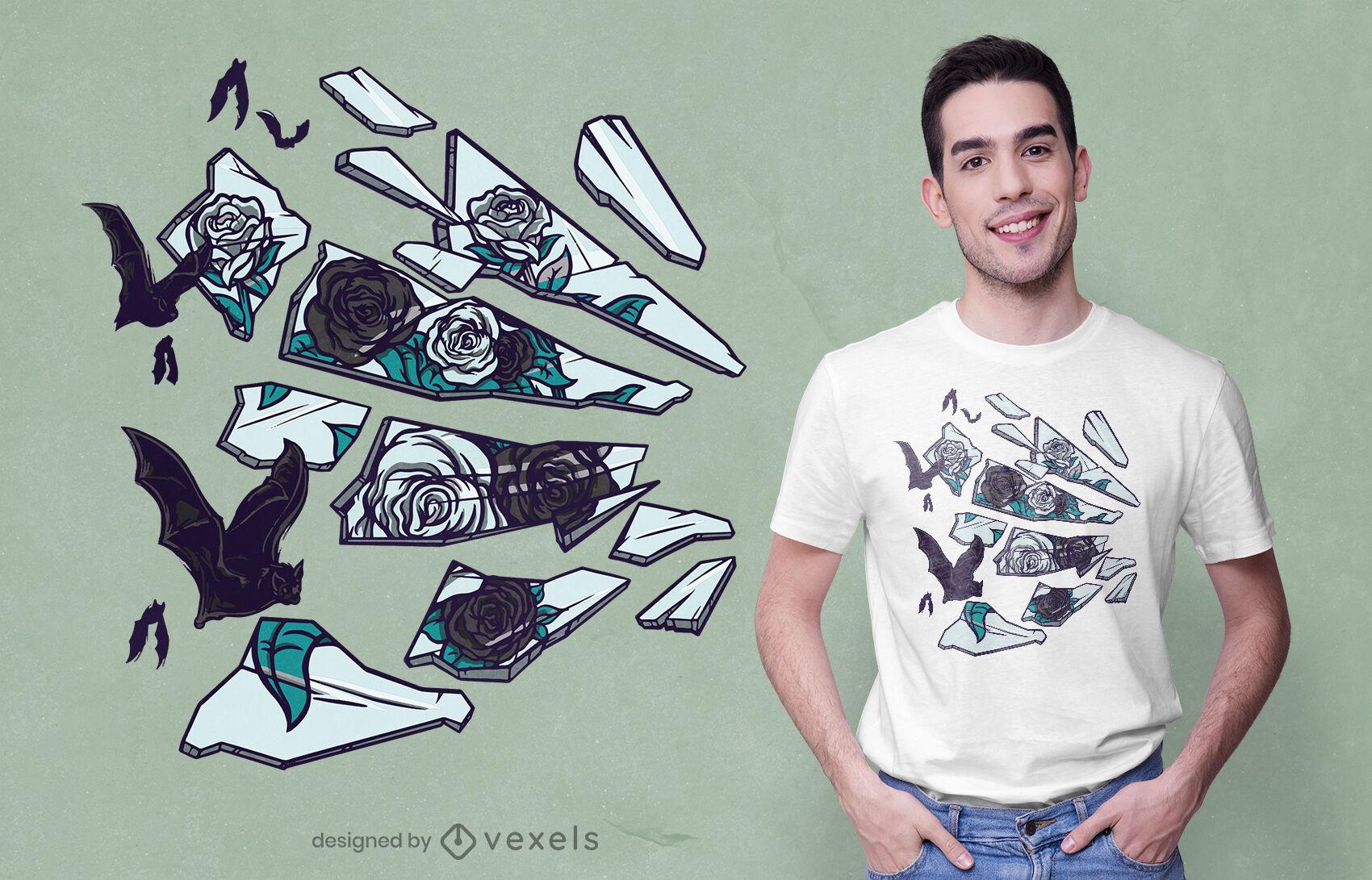 Diseño de camiseta de rosas y murciélagos de espejo roto.